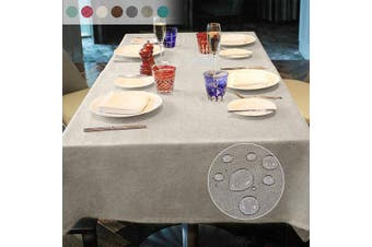 (Beige, 140*180) - LUOLUO Rectangular Tablecloth Stain Proof Waterproof Washable Linen Fabric Tablecloth Wipable Tablecloth for Dining Table Covers Party Table Cloths- Beige 140x180