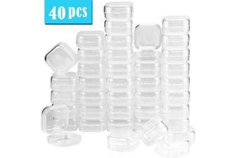 UPlama 40Pack Square Mini Clear Plastic Bead Storage Containers Box with Hinged Lid, Small Box Jewellery Earplugs Storage Box for Items,Earplugs,Pills,Tiny Bead,Jewerlry Findings(1.38x 1.100cm x 1.8cm )