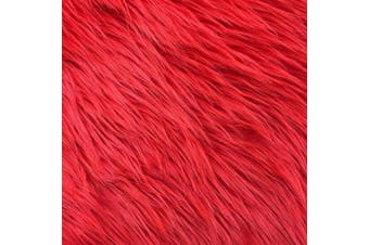 (25cm  X 25cm , Red) - Barcelonetta | Faux Fur Squares | Shaggy Fur Fabric Cuts, Patches | Craft, Costume, Camera Floor & Decoration (Red, 25cm X 25cm )