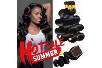 (16 18 20+36cm ) - CLAROLAIR Brazilian Body Wave with Closure Brazilian Virgin Hair Body Wave Bundles With Closure Human Hair Bundles with Closure (16 18 20+36cm )