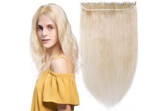 One Piece Clip in Human Hair Extensions 3/4 Full Head Set Straight Natural Real Hair for Women Beauty (25cm -40g, 60, Platinum Blonde)
