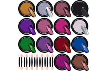 Duufin 14 Jars Chrome Nail Powder Metallic Nail Art Powder Mirror Effect Manicure Pigment 14 Colours Nail Powders with 14 Pcs Eyeshadow Sticks, 1g/Jar