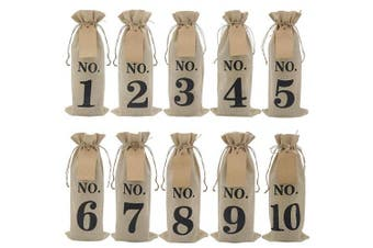10pcs Burlap Wine Bags with Tags for Blind Wine Tasting, Numbered Hessian Cloth Glass Bottle Gift Bags for Christmas Wedding Party Decoration