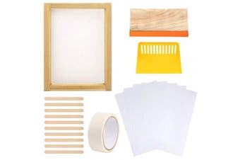 Caydo 19 Pieces Screen Printing Starter kit Include 25cm x 36cm Wood Silk Screen Printing Frame with 110 White Mesh, Screen Printing Squeegees, Waterproof Inkjet Transparency Film and Mask Tape