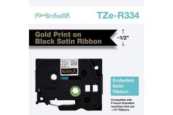 Brother International Brother P-Touch Embellish Gold Print on Black TZER334 Satin Ribbon,