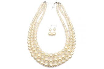(White) - 7 colour WINGS Women's Simulated Faux Three Multi-Strand Pearl Statement Necklace and Earrings Set