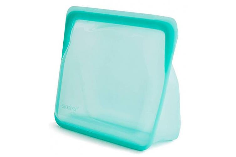 Stasher Re-Usable Food-Grade Platinum Silicone Bag for Eating from/Cooking, Freezing and Storing, Stand Up Bag, Aqua