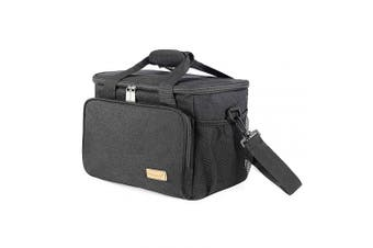 (15l - Black) - Leakproof 15L Insulated Lunch Cool Bag Large Soft Cooler Travel Lunch Bags Adjustable Shoulder Strap for Men and Women Camping Barbecues Picnic Outdoor Food Drink Carrier Black