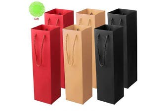 (A) - pengxiaomei 6 pcs Bottle Gift Bag, Premium Wine Champagne Paper Stylish Holographic Wine Bag with Strong Rope Handles for Wine Gifts