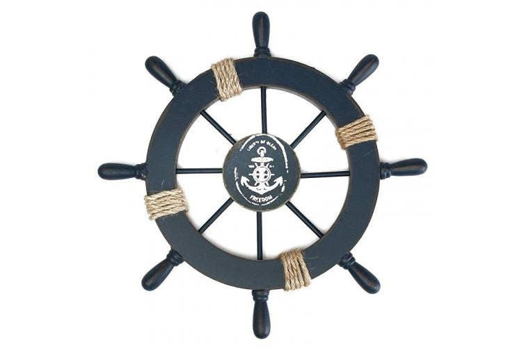 Tinksky Mediterranean Nautical Wooden Boat Ship Wheel Helm DIY Home Wall Party Decoration (Dark Blue)