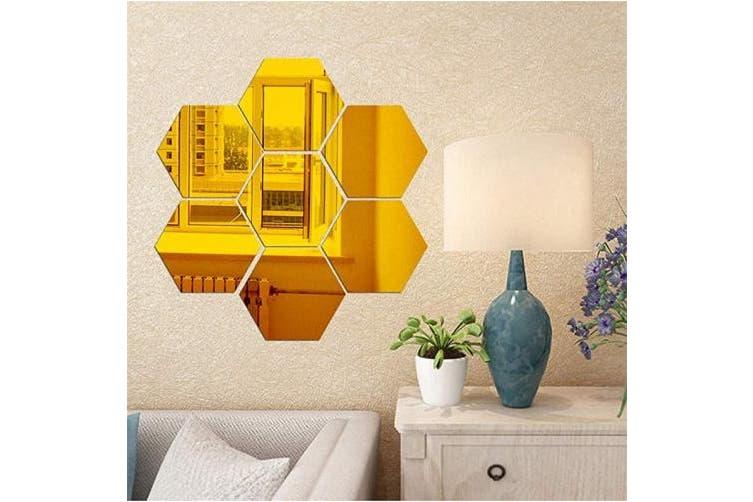 Gold Hexagon Mirror Wall Stickers 12pcs Mirror Art Diy Home Decorative 3d Hexagonal Acrylic Mirror Wall