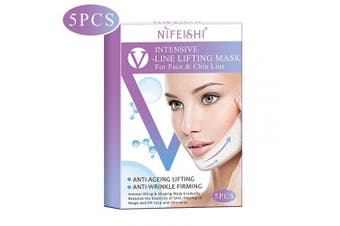 V Line Face Mask, Neck Mask Chin Up Patch Face Lift Double Chin Reducer, V-Line Face Lifting Contour Tightening Firming Moisturising V Shape Chin Mask Neck Lift - 5pcs