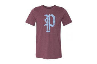 (Small, Heather Maroon) - 36 and Oh! Philadelphia P Baseball Shirt Mens Philly Vintage Distressed