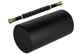 "(12"" - With Stick) - YOGU Round Muscle Foam Roller, Exercise Foam Roller for Muscles, Physical Therapy, Deep Tissue Muscle Massage, Dense Massaging Bar for Reducing Pain, Soreness Or Tension"