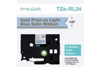 Brother International Brother P-Touch Embellish Gold Print on Light Blue TZERL34 Satin Ribbon,