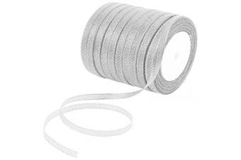 (Silvery) - Alphatool 10 Rolls Glitter Metallic Silver Ribbons- 0.6cm Wide Sparkly Fabric Ribbon Cord for Gift Crafters, Hair Bows, Wedding Birthday Party Wrapping Decoration, Floral DIY Project (250 Yard)