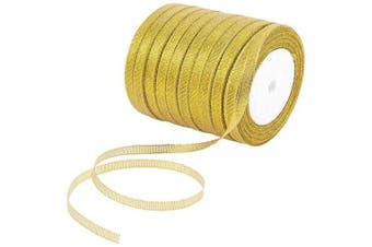 (Gold) - Alphatool 10 Rolls Glitter Metallic Gold Ribbons- 0.6cm Wide Sparkly Fabric Ribbon Cord for Gift Crafters, Hair Bows, Wedding Birthday Party Wrapping Decoration, Floral DIY Project (250 Yard)