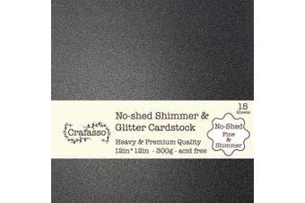 Crafasso No-Shed fine Glitter cardstock, 30cm x 30cm 300GMS, 15 Sheets, Black