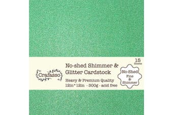 Crafasso No-Shed fine Glitter cardstock, 30cm x 30cm 300GMS, 15 Sheets, Green