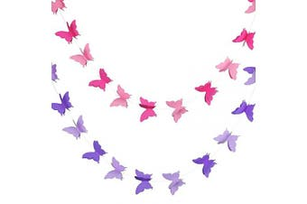 2 Pieces 3D Paper Butterfly Banner Hanging Decorative Garland for Wedding, Baby Shower, Birthday and Theme Decor, 300cm Long, Pink and Purple