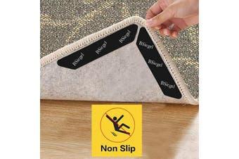 (Black) - Rug Gripper, BSiegel 8pcs Black Rug Gripper for Wooden Floors, Carpet Sticker Anti Slip Rug Underlay to keep your Rug in Places, Reusable Rug Tape Anti Rug Slip for Carpets, Non Slip Rug Grip
