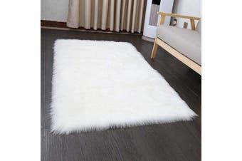 (White, 60cm  x 90cm ) - Cumay Super Soft Faux Sheepskin Rug ,Rugs living room , Shaggy Bedroom Area Rug White Faux Fur Rug Bedside Rugs (White, 60cm x 90cm )