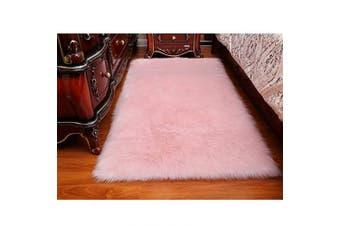 (Pink, 60cm  x 90cm ) - Faux Sheepskin Rug ,Rectangular,Fur Faux Fleece Fluffy Area Rugs Anti-Skid Yoga Carpet for Living Room Bedroom Sofa Floor Rugs (Pink, 60cm x 90cm )