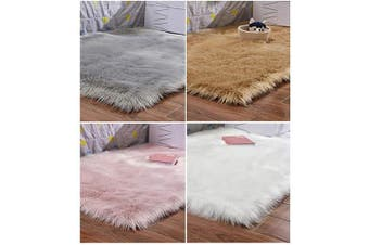 (Pink, 0.6m x 0.9m (60x90 cm)) - HARESLE Washable Faux Fur Rug Fluffy Carpet Sheepskin Rugs for Bedrooms Home Mat 3 by 2 Rug, Pink/0.6m x 0.9m