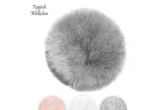 (Gray, 90 cm - Round) - Teppich Wölkchen Faux Sheepskin, Lambskin Fur Rug | Fluffy Rug for the Bedroom, Living Room or Nursery | Furry Carpet or Throw for Chairs, Stools and Couches | Grey - 90 cm - Round