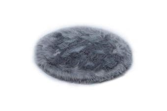 (Grey, 90 X 90 CM) - HEQUN Circular Faux Fur Sheepskin Style Rug Faux Fleece Chair Cover Seat Pad Soft Fluffy Shaggy Area Rugs For Bedroom Sofa Floor (Grey, 90 X 90 CM)