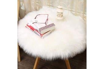 (White, 90 X 90 CM) - HEQUN Circular Faux Fur Sheepskin Style Rug Faux Fleece Chair Cover Seat Pad Soft Fluffy Shaggy Area Rugs For Bedroom Sofa Floor (White, 90 X 90 CM)