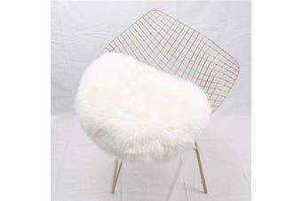 (White, 45 X 45CM) - HEQUN Circular Faux Fur Sheepskin Style Rug Faux Fleece Chair Cover Seat Pad Soft Fluffy Shaggy Area Rugs For Bedroom Sofa Floor (White, 45 X 45CM)