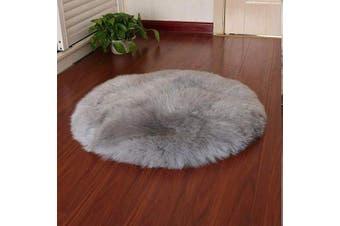 (Grey, 45 X 45CM) - HEQUN Circular Faux Fur Sheepskin Style Rug Faux Fleece Chair Cover Seat Pad Soft Fluffy Shaggy Area Rugs For Bedroom Sofa Floor (Grey, 45 X 45CM)