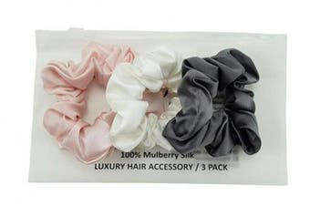 (Large, Charcoal, Pink, Ivory) - Celestial Silk Mulberry Silk Scrunchies for Hair (Large, Charcoal, Pink, Ivory)