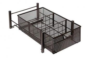 (Medium) - Amtido Mesh Cabinet Basket Organisers - Metal Storage Drawer - Sliding Rack with Dividers for Spice, Shower, Pantry Supplies - Kitchen, Bathroom, Undersink, Garage Shelving - Bronze (Medium)