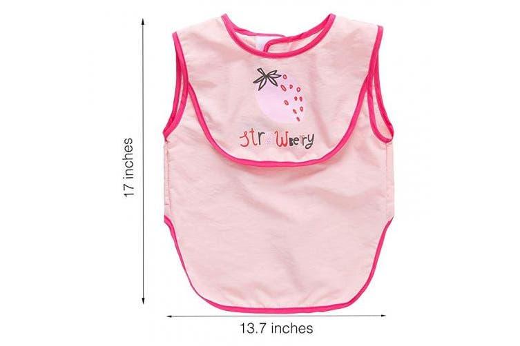 (Strawberry) - Baby Bib/Toddler Bib/Sleeveless Smock, CLCROBD Waterproof, Washable, Super Soft Apron with Reversable Pocket, 6-36 Months (Strawberry)