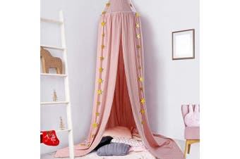 (Pink) - Ceekii Canopy for Girls Bed, Round Dome Hook Cotton Princess Mosquito Net Canopy Kids Bedroom Games Reading Tent Nursery Play Room Decor (Pink)