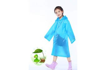 (Blue) - Kids Raincoat Rain Poncho, Children Portable Reusable Emergency Rain for 6-12 Years Old for Camping Hiking Travelling Backpacking (Blue)