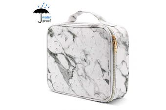Marble Makeup Box,Cosmetic Bags Waterproof Marble Makeup Case Travel Organiser with Adjustable Dividers for Travel