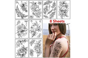 (A) - Rose Flower Temporary Tattoo Stickers for Women Adults Sexy Black Floral Tattoo Large Realistic Fake Tattoo Waterproof Temp Tattoo Paper Arm Leg Back Shoulder Body Art Tattoo Stickers (8 Sheets)