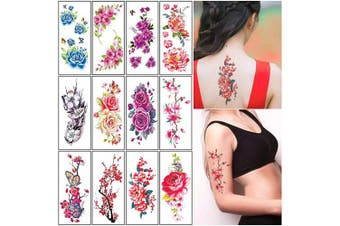 (B) - Flower Temporary Tattoos Stickers for Women Adults Large Rose Floral Realistic Fake Tattoo Sexy Temp Tattoo Paper Body Art Arm Leg Sternum Forearm Back Waterproof Tattoo Stickers 12 Sheets