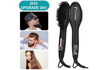 (men straightener) - Ionic Beard Straightener Comb for men - 2019 Upgrade Quick Beard Styler Comb Ionic Electric Beard Straightening, Hair Straightening Brush for Women,Dual Voltage 100V-240,Heat Brush For Home & Travel