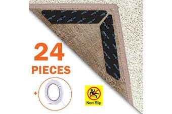 EAONE Rug Gripper 24 Pieces, Anti Curling Rug Gripper Tape Reusable Carpet Corner Non-slip Rug Sticker for Wooden/Laminate/Tiled Floor Hard Floors with 1 Roll Double Sided Adhesive Tape