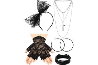 (Style A) - 80s Fancy Dress Costume Accessories Lace Headband Earrings Fishnet Gloves Necklace Bracelet for 80s Retro Party (Style A)
