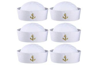 (6 Pieces, Style a) - Boao 6 Pieces Halloween White Sailor Hat Captain Caps Yacht Nautical Hats for Adult Sailor Costume, Dress Up Party Hats (Style A)