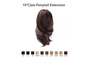 (2/33# Darkest Brown mix Dark Auburn Evenly) - BARSDAR 10' Clip in Ponytail Hair Extensions Short Curly Synthetic Hair Piece for Women (2/33# Darkest Brown mix Dark Auburn Evenly)