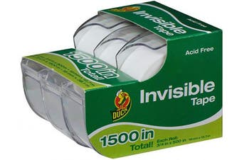 (1.9cm  x 1270cm /Roll, 3 Rolls (with Dispensers)) - Duck Brand Matte Finish Invisible Tape With Dispenser, 3 Rolls, Each Roll 1.9cm x 1270cm for 1500 Total Inches