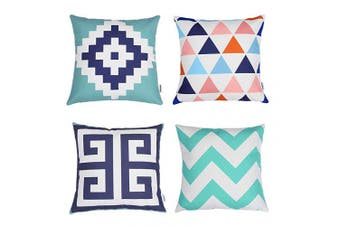 (Blue Green) - TIDWIACE® Blue-Green Cushion Cover Pack of 4, Home Decorative Square Double-sided printing Accent Throw Pillow Covers Set Geometric Cushion Case for Couch,Bedroom 45 x 45 cm