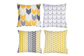 (Yellow) - TIDWIACE® Yellow, White and Grey Cushion Cover Pack of 4, Home Decorative Square Double-sided printing Accent Throw Pillow Covers Set Geometric Cushion Case for Couch,Bedroom 45 x 45 cm