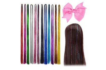 (D) - Beelittle Coloured Hair Extensions Synthetic Highlight Hairpieces Birthday Party Favours Makeover Cospaly Costume Decorations for Kids Girls Women (D)